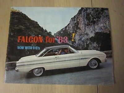 1963 1/2 Ford, Falcon For 63 Now With V-8s Very Rare Original Color Brochure