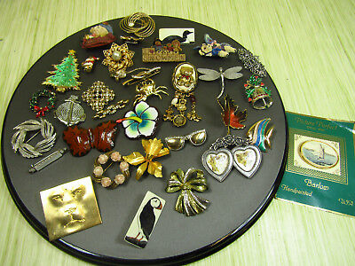 Lot Of Costume Jewelry Pins + Brooches Scrimshaw Rhinestones Holidays AS IS