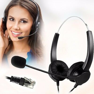 M.Way Handsfree Call Center Noise Cancellation Corded Binaural Telephone Headset