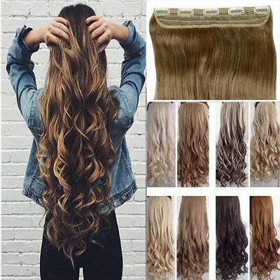 Mega Thick Clip In on Hair Extensions One Piece Straight Curly Wavy As Human FK5
