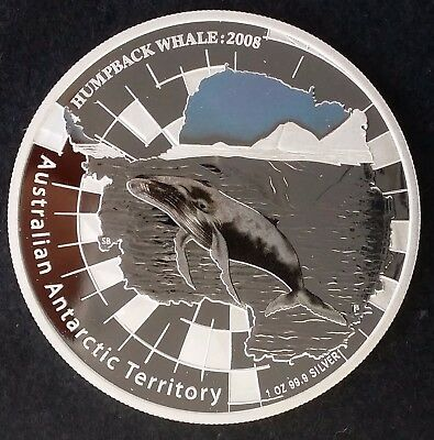 2008 Australian Antarctic Terr Humpback Whale 99.9% Silver Proof $1 coin