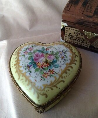 Vintage French Hand Painted Heart Shaped LIMOGES SERVES  Hinged Trinket Box