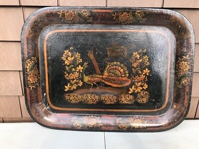 LARGE Antique Tole European Tray French Or English 1850 Peacock