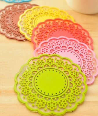 6pcs Cute Sweet Semi Transparent Lace Cup Mat Silicone Rubber Coaster for Mugs