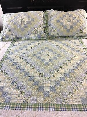 Vintage Inspired Trip Around The World & Embroidery Quilt & Shams Blue & Yellow