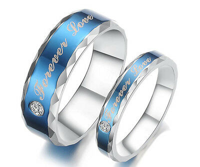 "His and Her Stainless Steel Couple Wedding Engagement Rings ""Forever Love"" Free"
