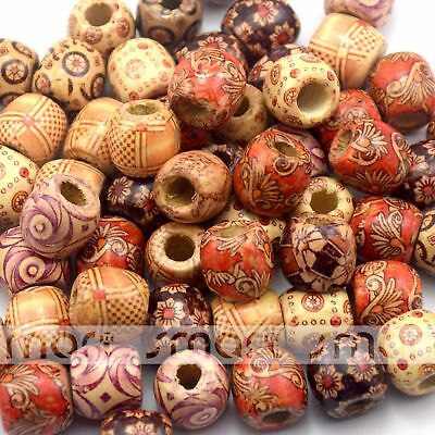 20pcs Mixed Colors Assorted Design Drum Shape Wood Beads 16x17mm