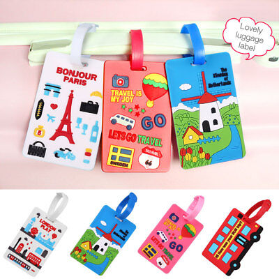 Travel Luggage Tag Paris Eiffel Tower London Street Suitcase Labels Name