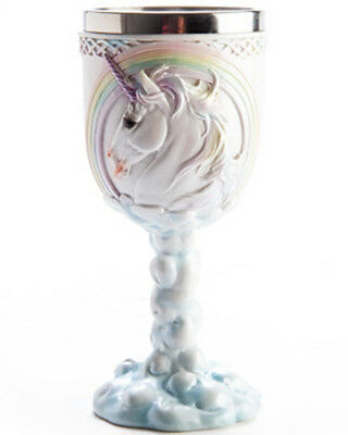 Flying Unicorn Kawaii Pastel Goth Goblet Drinking Cup Wine Glass Rainbow Cute