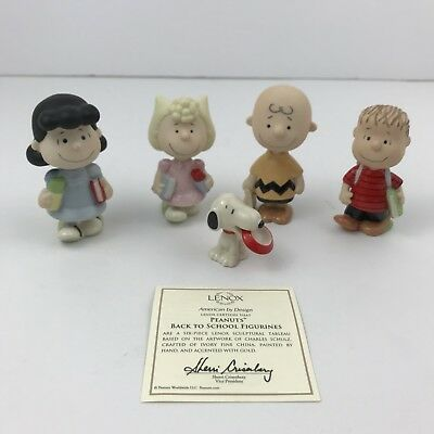 Lenox Peanuts Back To School Figurines Charlie Brown Set Of 5 Hand Painted