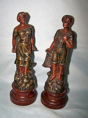 French Spelter PECHEUR et PECHEUSE Figures Fisherman Fisherwoman
