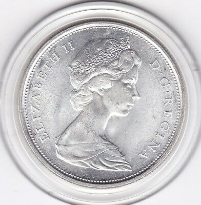 Sharp  1967   Canada   Silver  50  Cents   Queen  Elizabeth  II  Coin