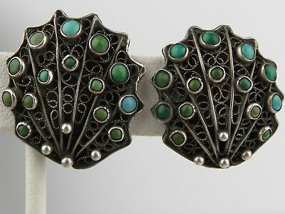 Antique Victorian Russian 84 Filigree 800 Silver Turquoise clip earrings