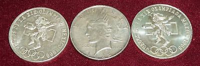 """2 Mexico 1968 Silver Olympic Coins """"silver Dollar"""" Sized, Great Jewelry Pieces !"""