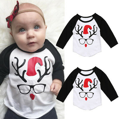 Toddler Kids Baby Boys Cotton Long Sleeve Tops T-shirt Christmas Clothes Casual