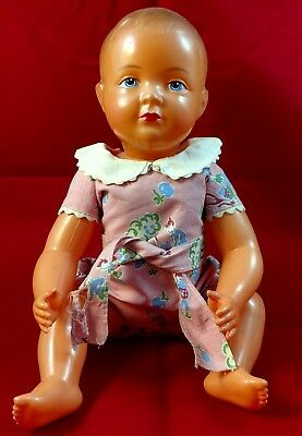 """Antique 1920s Celluloid Jointed14"""" baby marked  FRANCE SNF 35"""