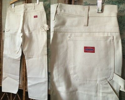 New Nos Dickies Natural Off-White Cotton Muslin Work Utility Painter Pants 36/32
