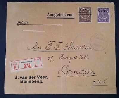 VERY RARE c. 1908 Netherlands Indies (Java) Regtd Cover ties 2 stamps Invert O/P