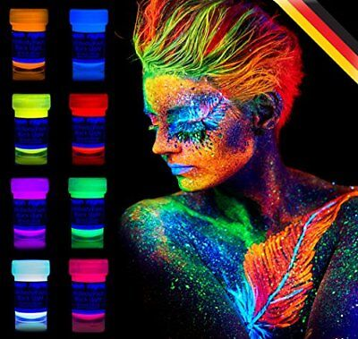 Ultra Violet Neon Face Body Painting Black Light Makeup Glow in the Dark Party