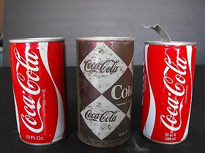 Lot of 3 Different Coca Cola Coke Steel/Aluminum Soda Pop Cans 10 12 oz diamond