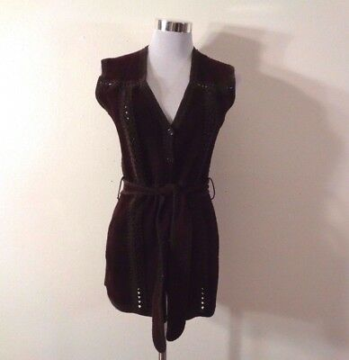 70s SWEATER BEE BANFF BROWN SUEDE & CROCHETED TRIM SWEATER BACK BELTED BOHO VEST
