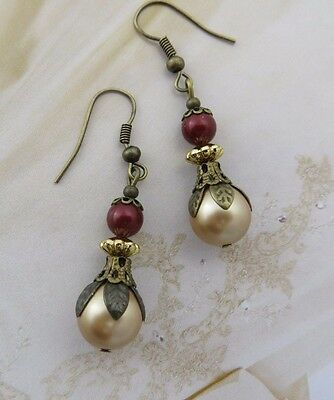 ANTIQUE PEARL EARRINGS Gold Red Brass Vintage Jewellery Wedding Gift Fashion Her