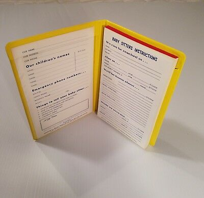 Baby Sitters Instructions Yellow Notepad Emergency Babysitters 1971 Vintage