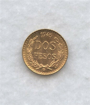 Choice Uncirculated 1945 Mexico Dos Pesos Gold Coin .0482 oz.Actual Gold Weight