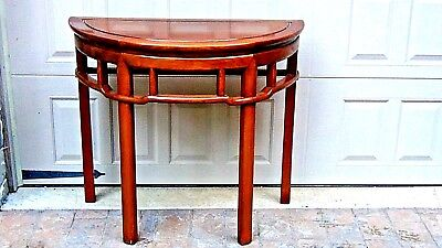 ANTIQUE EARLY 20c CHINESE ELMWOOD DEMILUNE  HAND JOINED CONSOL TABLE