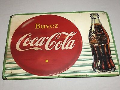 1959 Porcelain French Coca-Cola Sign - Buvez - Canada - Uncommon - Embossed