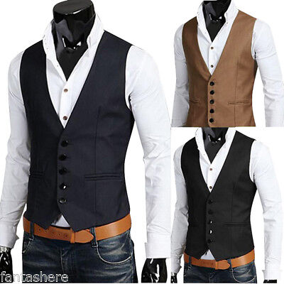 Mens Waistcoat Formal Business Suit Retro Vest Slim Wedding Casual Coat Tops New