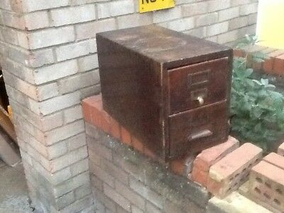old solid wooden 2-drawer card index cabinet