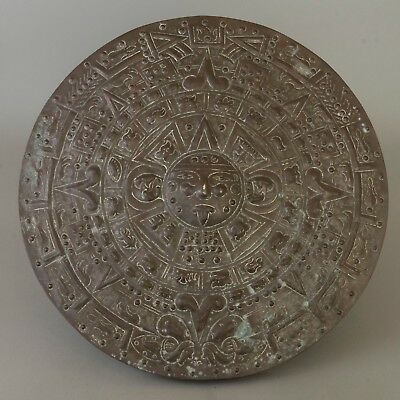 Vtg Huge Copper Aztec Calendar Wall Plaque Mayan Sun Stone Hammered Mexico