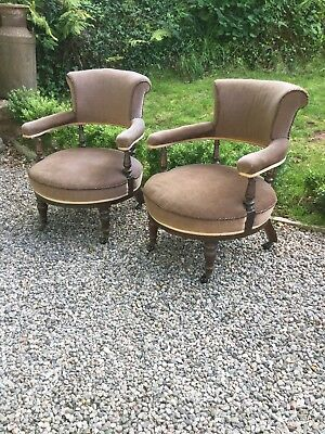 Antique Pair Of Victorian Tub Chairs