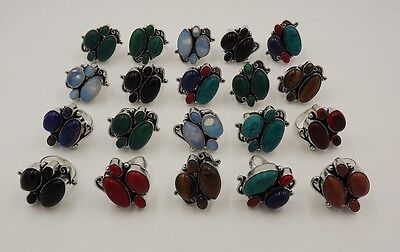 20Pcs.Lot Top Rich Turquoise & Multi Stone 925 Silver Plated Unique Ring KA9344