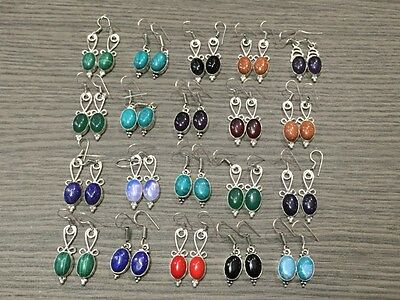 WHOLESALELOT 20 pcs TURQUOISE & MULTI-STONE.925 SILVER PLATED EARRING 130 GMS