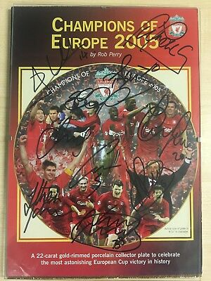 Signed X 10 2005 European Cup Final plate advert Liverpool v AC Milan
