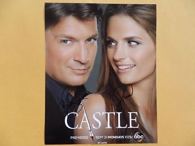 Nathan Fillion, Stana Katic 8x10 Autographed 'Castle' Photo