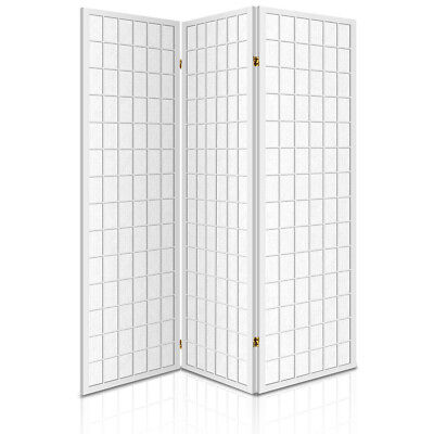 NEW Foldable 3 Panel Pine Wood Study Bedroom Living Area Room Divider - White