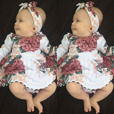 USA Stock Newborn Baby Girls Long Sleeve Floral Dresses 2PCS Outfit Kids Clothes