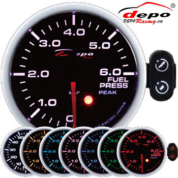 DEPO racing 52 mm Smoked Fuel Pressure Gauge w/ sensor
