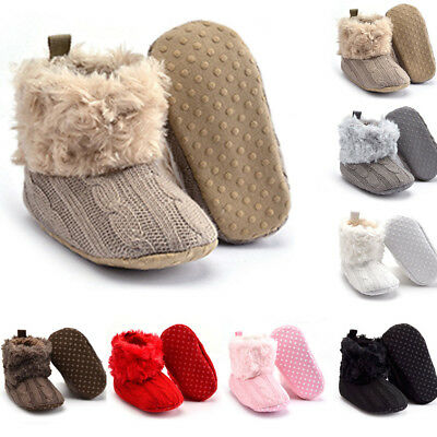 Baby Boy Girl Winter Boots Toddler Soft Cotton Knitted Fleece Crib Shoes 0-18M