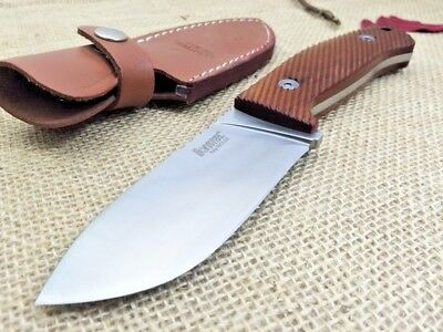 LionSteel M3 ST Hunting Fixed Blade Knife, Wood Handle, 7Cr17Mov Blade, 58HRC