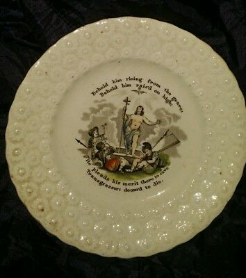 two early religious creamware plates
