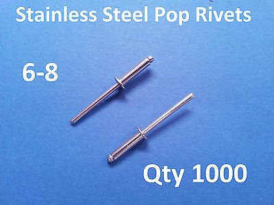 """1000 POP RIVETS STAINLESS STEEL BLIND DOME 6-8 4.8mm x 17.2mm 3/16"""""""