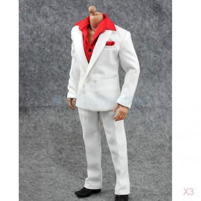"3x 1:6 Suit Set Shirt Pants Outfit for 12"" Hot Toys BBI Dragon Male Figure Body"