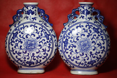 1 pair Rare Antique fine Chinese beautiful Blue and white Porcelain flat Vase F1