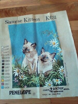 "12"" x 15"" PARTIAL Worked WOOL Tapestry  SIAMESE KITTENS"