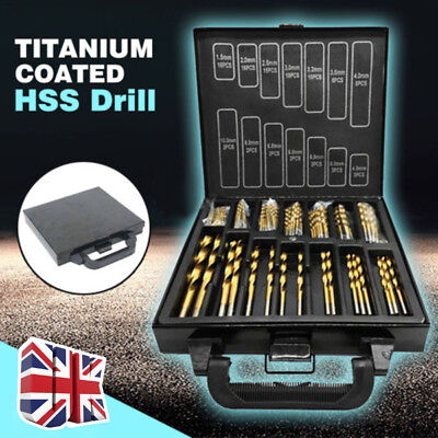 99PC Titanium Coated HSS Drill Bit Set Piece and Case Plastic Wood Metal Kit UK