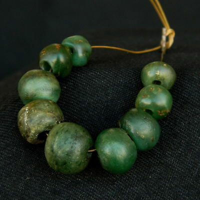 ANCIENT Serpentine BEADS 蛇纹岩 - 8 pieces - 70 mm LENGTH - Saharian NEOLITHIC